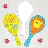 Blanko-Paddleballschläger mit einem am Gummiband befestigten Ball für Kinder zum Gestalten und Spielen - (6 Stück)