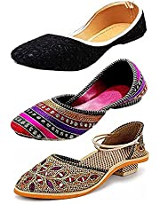 RYAG Rajasthani Jaipuri Multicolour Ethnic Womens and Girls Bellies & Sandals 3 Pair Combo