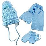 3-tlg Set Winter Mütze mit Schal und Handschuhe Babymütze Kinder Wintermütze Herbstmütze Kindermütze Größe 39-41, 42-44 cm (Blau - 39-41 (kopfumfang))