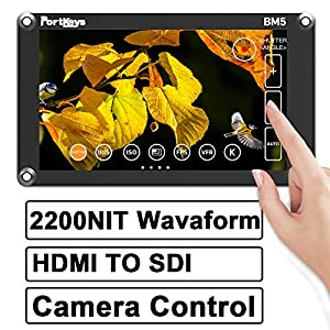 PortKeys BM5 5.2 Inch Ultra Bright 2200nit 3G SDI/4K HDMI Touch Screen DSLR Camera Field Monitor with 3D LUT,Wavaform,Camera Control Functions ,On-Portable Small Monitor