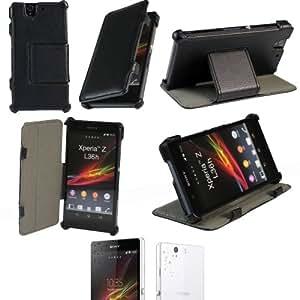 Ultra Slim Tasche Leder Style Sony Xperia Z (L36h) Hülle Schwarz Cover mit Stand - Zubehör Etui smartphone Sony Xperia Z Flip Case Schutzhülle (Handytasche PU Leder, Schwarz) - Brand XEPTIO accessoires