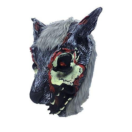 CAOLATOR Schwarzer Wolf Latex Maske Horror Masquerade Tier Kopf Masken für Cosplay Partei-Kostüm-Abendkleid, Fasching, Karneval & Halloween Wolf-latex-maske