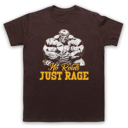 No Roids Just Rage Bodybuilding Culture Slogan Herren T-Shirt Braun