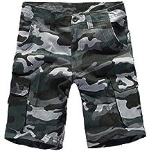 NiSeng Gran tamaño Cortos De Carga Para Hombre Shorts Multi-bolsillo Casual Camuflaje Relajado Pantalones Cortos Bermudas Cargo