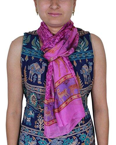 Donne di modo delle ragazze di colore rosa - animal print morbido impacco indiano sciarpa di seta - 188 x 56 cm
