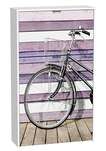 Suarez H306-3 - Zapatero, 3 niveles, diseño bici rosa, 750 x 242 x 1268 mm, color blanco