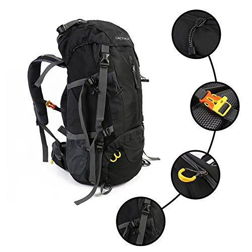 Imagen de  de senderismo 70l  de nylon impermeable  al aire libre   con cubierta de lluvia y varillas de aluminio para viajar escalada alpinismo negro  alternativa