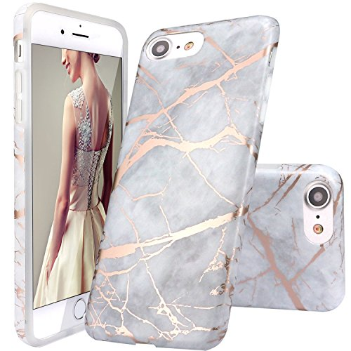 Coque iPhone 5 5s SE,DOUJIAZ Housse brillant de Protection, Ultra-Mince Glitter Paillette TPU Silicone Souple Coque Pour iPhone 5 /5s /SE (Série Marbre,Shiny Rose Gold /Gray)