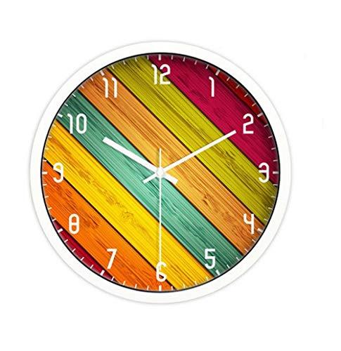 YHEGV Wanduhr Moderne Parlament, einfache Bunte ruhige Wohnzimmer Küche Esszimmer Schlafzimmer Wand Metall Stunden Aufnahme Retro Wanduhr 25 cm/30 cm/35 cm, Geld, 30 cm