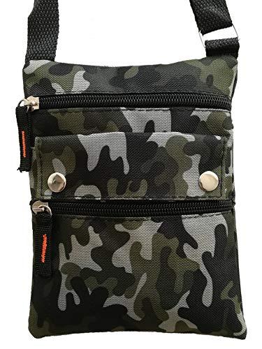 Treend24 Unisex Umhängetasche Simple Flach mit 4 Fächer Camouflage Outdoor Messenger Bag Freizeit Sport Wanderung Fahrrad Damen Herren Kinder Multifunktion Tasche Anti Diebstahlt (Camouflage 1#) (Tasche Camouflage)