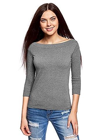 oodji Collection Femme T-Shirt sans Étiquette avec Manches ¾, Gris, FR 40 / M