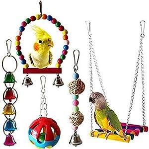 joizo Oiseau Parrot Toy Pendentif de Bell Pet Cage Balancez Toy Pendentif pour Les Petites perruches, aras Perroquets, Love Birds, pinsons 5pcs