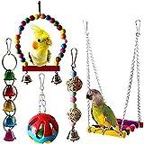 joizo Parrot Toy Pendente dell'uccello della Bell Pet Cage Swing Pendant Giocattolo per Piccoli parrocchetti Ara, pappagalli, Uccelli di Amore, fringuelli 5pcs