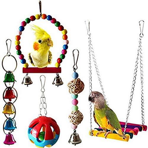 DDG EDMMS pájaro de Juguete Loro Que cuelga la Campana Mascota Jaula de pájaros Columpio Hamaca Que cuelga Loro Juguete Loro del Macaw, Loro, pájaro del Amor, pájaro 5