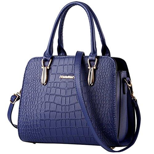Cerui Borsa Donna a Mano Shopping Bag Ahead Modello da Spalla PU Pelle Blu scuro