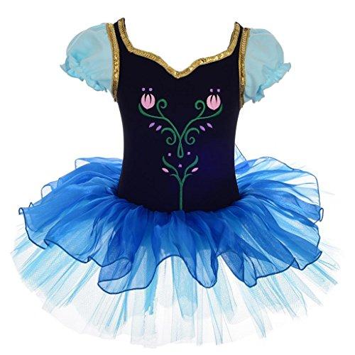 Kostüm Frozen Tutu - Lito Angels Frozen Anna Kostüm Stickerei Tulpe Ballett Tütü Ballettkleid Tanzbekleidung Verrücktes Kleid 6-7 Jahre Mehrfarbig