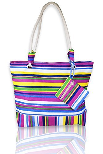 Basico Beach Tote Bag with Rope Handles (Multi Stripe) by Basico