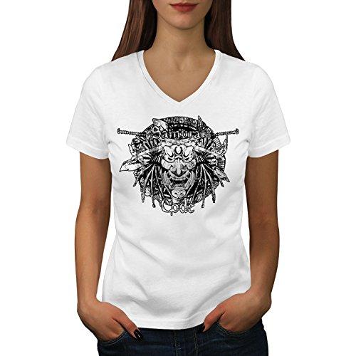 wellcoda Maske Samurai Kunst Fantasie Frau V-Ausschnitt T-Shirt Maske Grafikdesign-T-Stück (Samurai Frau Krieger Kostüm)