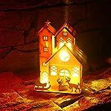 Weihnachtsdekor Leuchtendes Ornament,Wawer LED Lichter Hirsch Wagen Holzhaus-Mall-Fenster Dekoration für Hochzeit Party Weihnachtsbaum Anhänger