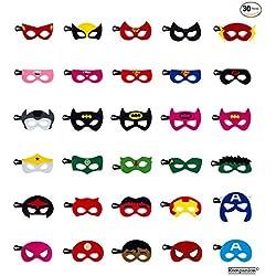30 Mascaras de Superhéroe – Accesorio de Fiesta Infantil y Adultos – Apoyo para Cabina de Fotos – Prop de Halloween - Cosplay, Disfraz, Disfraces, Relleno, Regalo, Sorpresa – Para Personas de 3+ Años