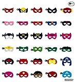 Kompanion Set da 30 Pezzi di Maschere da Supereroi Ideali per party Halloween Cosplay Maschera di Feltro con Corda Elastica Regolabile dai 3 Anni in su