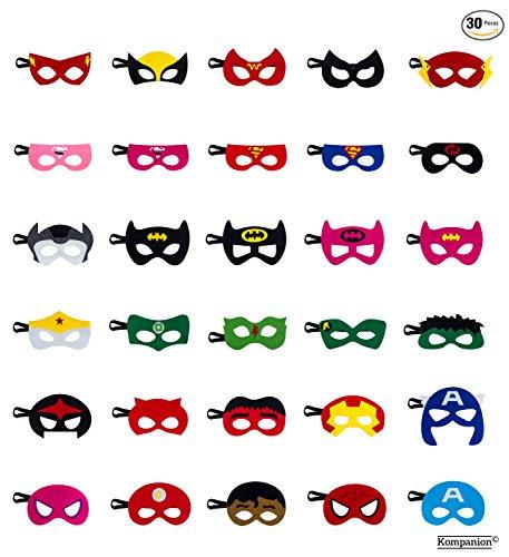 Superhelden Party Masken Set, Ideal für Geburtstage, Halloween, Cosplay, Party Tütenfüller usw, Filzmaske mit Verstellbaren Elastischen Seil, für Alter 3-Plus (Halloween Superhelden)