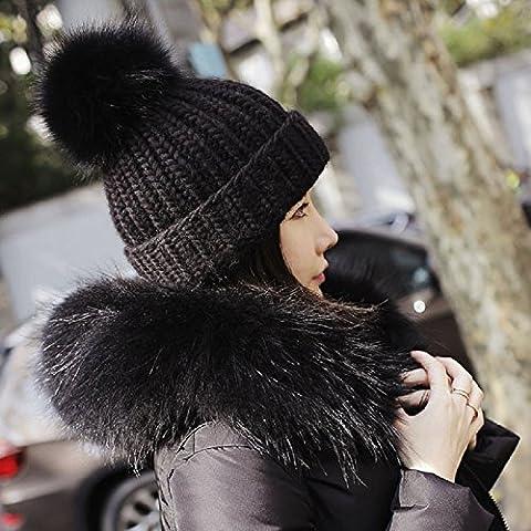 XJoel Beanie Cappello di lana misto lana donne inverno caldo Cappello di lana di lana Sci cappucci neri
