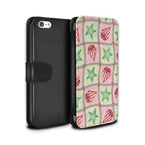 Stuff4 Coque/Etui/Housse Cuir PU Case/Cover pour Apple iPhone 5C / Vert/Rouge Design / Bateaux étoiles Collection Vert/Rouge