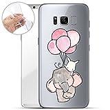 Finoo | Samsung Galaxy S8 Weiche Flexible Silikon-Handy-Hülle | Transparente TPU Cover Schale mit Motiv | Tasche Case Etui mit Ultra Slim Rundum-Schutz | Elefant Hase Ballons