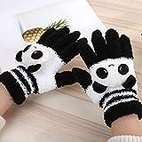 YsTmS Weibliche Winter Warme Niedlichen Cartoon Panda Cat Rabbit Strickhandschuhe Mädchen Frauen Mode Korallenrote Vlies Fingerhandschuhe Handschuhe,Transparent