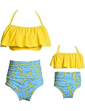 2 piezas Bikini conjuntos de cintura alta con volantes de la impresión de la flor trajes de baño ropa de la familia...