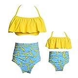 2 Piezas Bikini Conjuntos de Alta Cintura de la Colmena de la impresión de la Flor Trajes de baño Ropa de la Familia Madre Trajes de la Hija Mamá Amarilla/XL 16-18