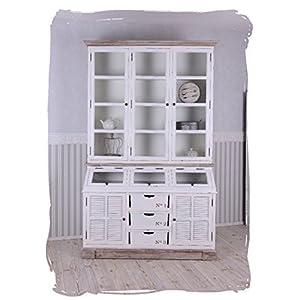Vitrinenschrank, Küchenbuffet, Küchenschrank, Schrank, Buffetschrank für Küchen im Landhausstil und einzigartige Wohnideen, aus weißem Holz, kalkiert - Palazzo Exklusive
