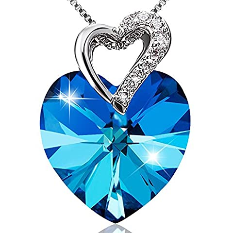 LELADY Love Heart Shape Pendant Pendant Necklaces Made with Austrian Crystals Birthday Gift for Women Lady Girls