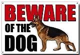 Alsaciano 'BEWARE OF THE Perro Metal Seguridad Warning LETRERO CON ENAMELLED ACABADO - 285 x 210 x 1