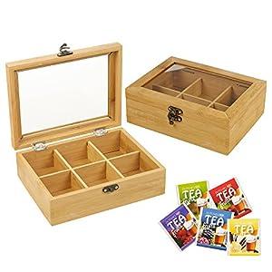 6 compartiments-Boîte à thé en bambou
