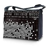 Luxburg® design sacoche sac de messager à bandoulière pour ordinateur portable Notebook 15,6 pouces, motif: binaire