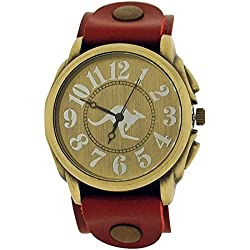 Medley Gents Analogue Goldtone Dial Wide Red Leather Cuff Strap Watch MED19