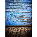 MOHOO Fotohintergrund Fotografie Stoffhintergrund Stoff Hintergrund Mit Retro Blaue Holz 1.5*2.1m (Material: Seide)