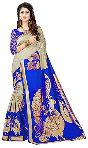Dheylu Creation Women\'s Bhagalpuri Art Silk Saree (Free Size, RMM_NILKANTH Blue)