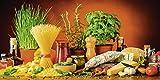 Artland Qualitätsbilder I Wandtattoo Wandsticker Wandaufkleber 80 x 40 cm Gemüse Digitale Kunst Bunt D3BK Mediterran Italien Essen Nudeln Käse Wurst Kräutern Gewürzen