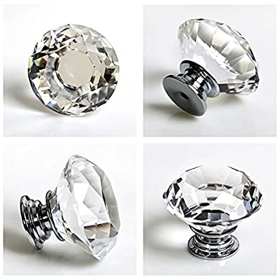 8PCS TOP 31mm Crystal Diamante Crystal Glass Diamond Shaped Door Knobs Cabinet Pulls Cupboard Handle Drawer Knobs Wardrobe Home Kitchen Hardware - low-cost UK light store.