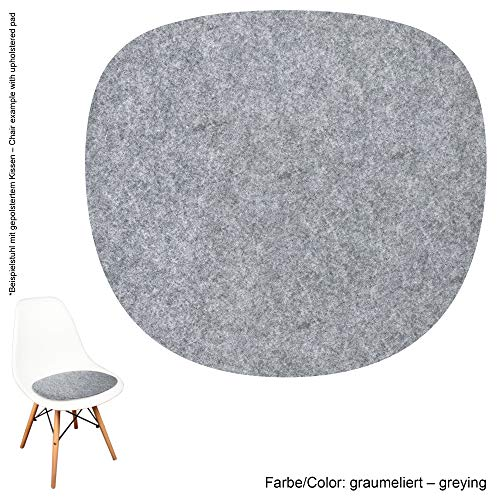 noe Eco Filz Auflage 4mm - geeignet für Vitra Eames Sidechair DSW,DSR,DSX,DSS - 29 Farben inkl. Antirutschunterlage (Graumeliert) -