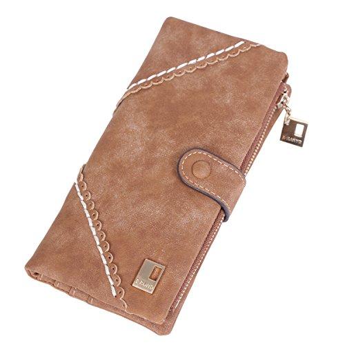 Damara da donna in pelle morbida Bifold monete borsa frizione borsa porta carte di credito Dark blue