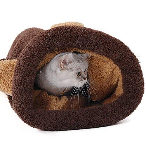 PAWZ Road Washable Cat Sleeping Bag Tent Dog Bed Snuggle Cave Cute Sack Mat for Kitten and Puppy Braun - 3
