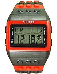 Reloj de pulsera de multifuncion de color - SHHORS Reloj de pulsera de nino LED impermeable de multifuncion de arco iris Reloj de deportes de natacion Reloj de pulsera digital (Estilo 12)