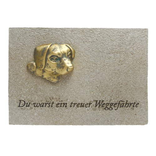 Paul Jansen Grabplatte Hund Breite 20cm Cremefarben