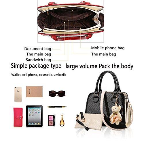 Sunas estate nuovo Moda Borsa messenger Retro Set di 2 borse Femminile Borsa a mano + Portafoglio nero