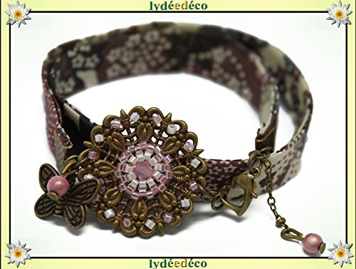 Retro Armband Blum Perlen lila Japan rosa grau weiß Freiheit Schmetterling Messing Bronze Geschenk Weihnachten Freundin Mama Geburtstag Hochzeit Gäste Heilige Geliebte Muttertag (Rosa Party Zebra)