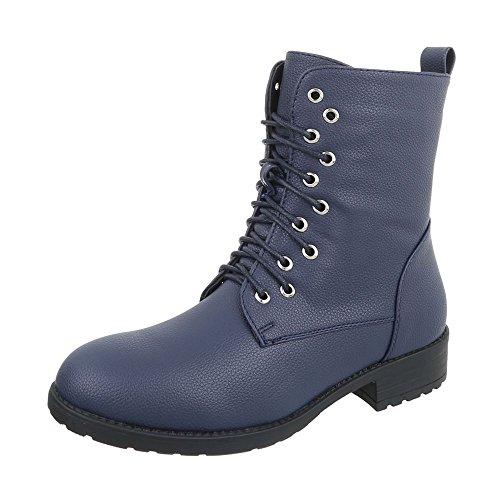 Ital-Design Chaussures Femme Bottes et Bottines Bloc Bottines a Lacet bleu W301
